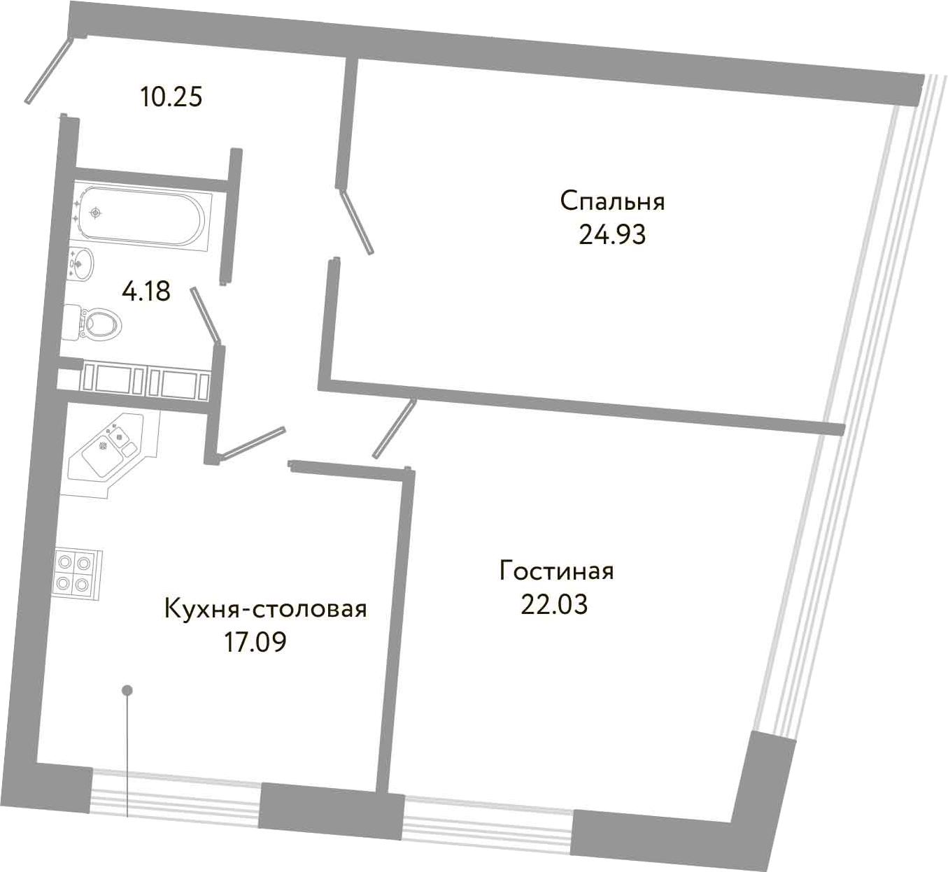 2-комнатная квартира, 78.48 м², 4 этаж – Планировка