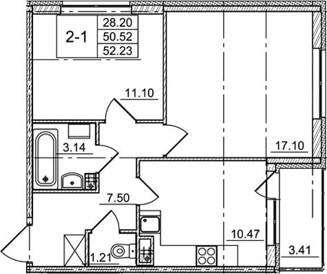 2-комнатная, 50.52 м²– 2