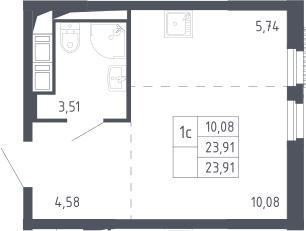 Студия, 23.91 м²