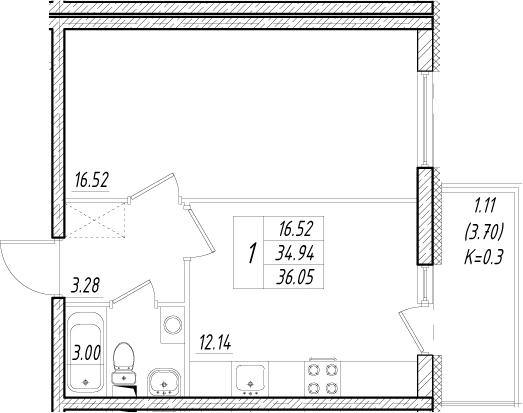 1-комнатная, 34.94 м²– 2