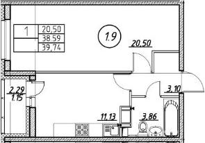 1-к.кв, 39.74 м²