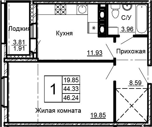 1-комнатная, 46.24 м²– 2