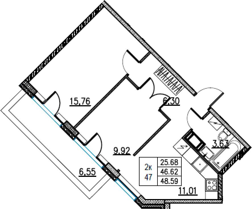 2-комнатная, 48.59 м²– 2