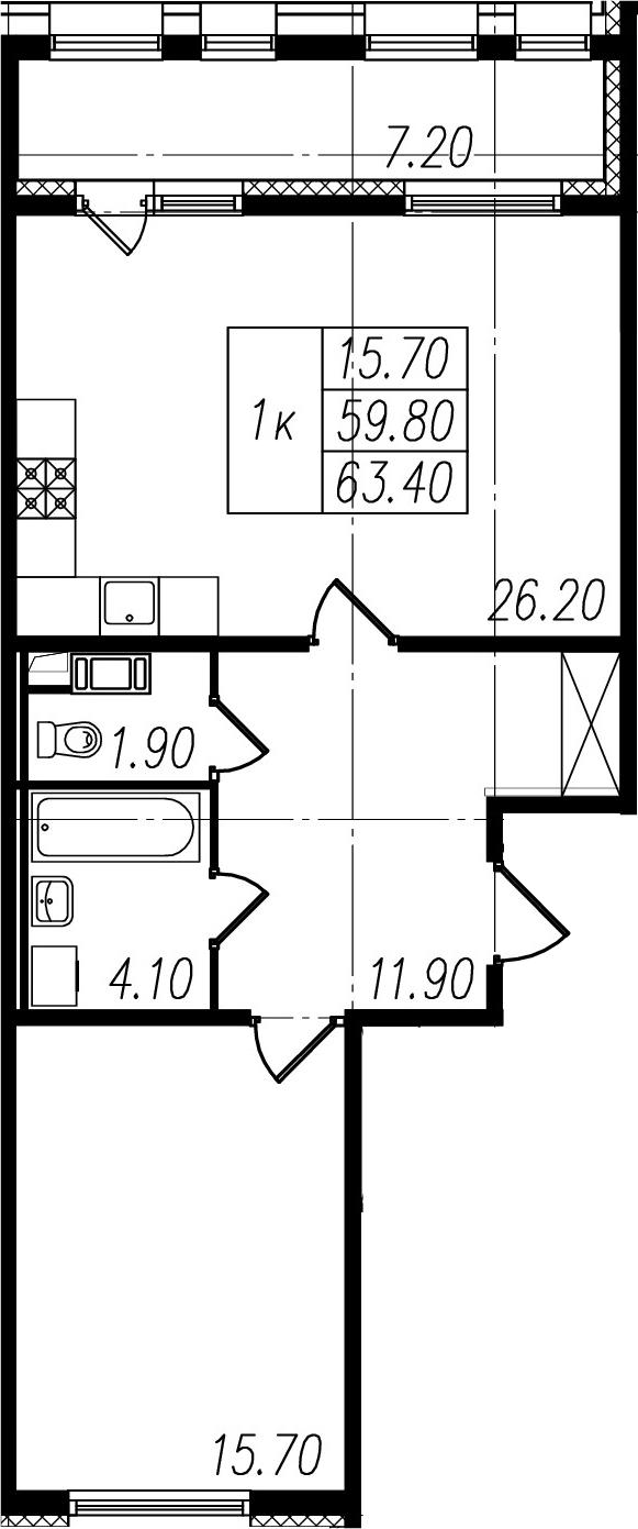 1-комнатная, 59.8 м²– 2