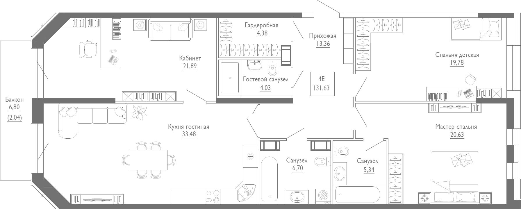 4Е-к.кв, 131.63 м²