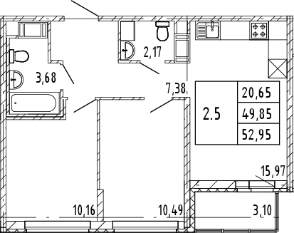 3Е-к.кв, 49.85 м², от 4 этажа