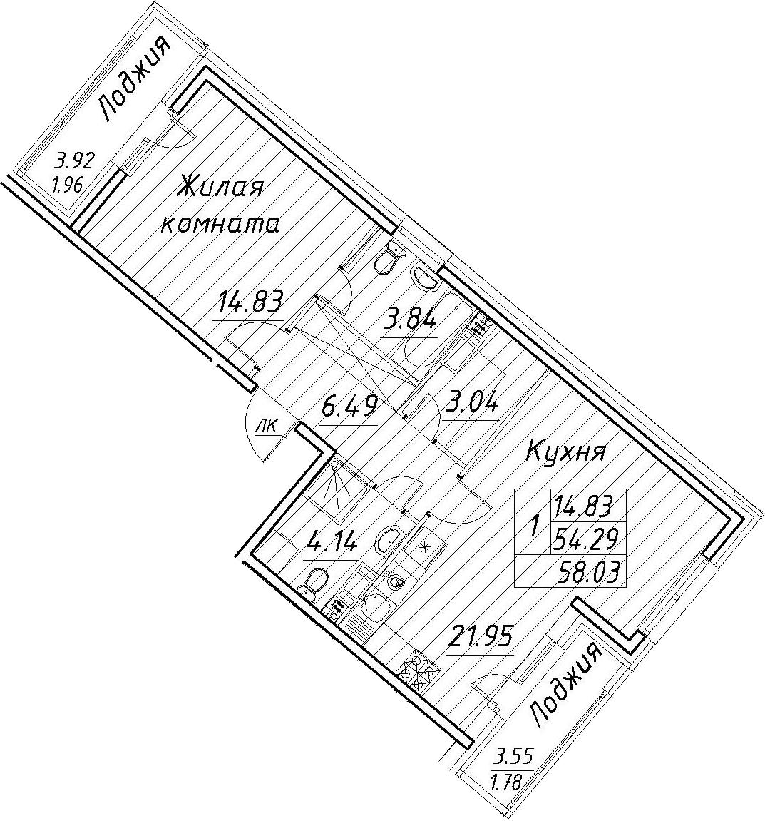 2-к.кв (евро), 61.77 м²