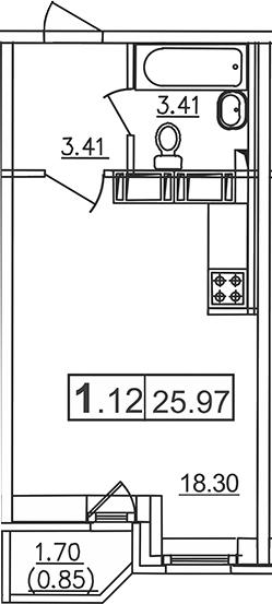 Студия, 25.97 м²– 2