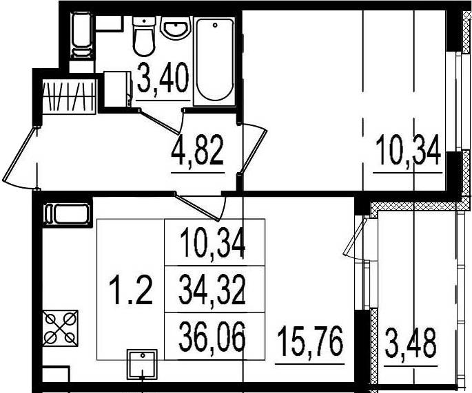 2Е-к.кв, 34.32 м², 2 этаж
