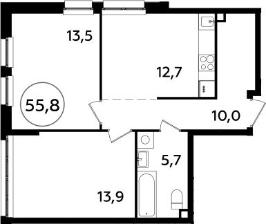 2-к.кв, 55.8 м²