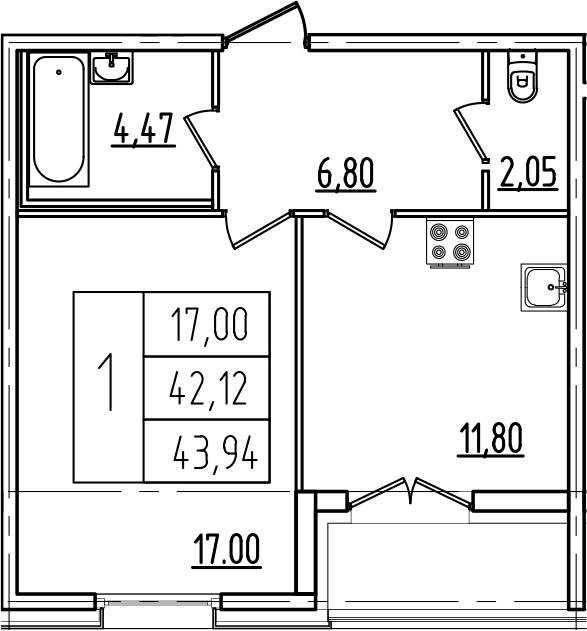 1-к.кв, 45.76 м²