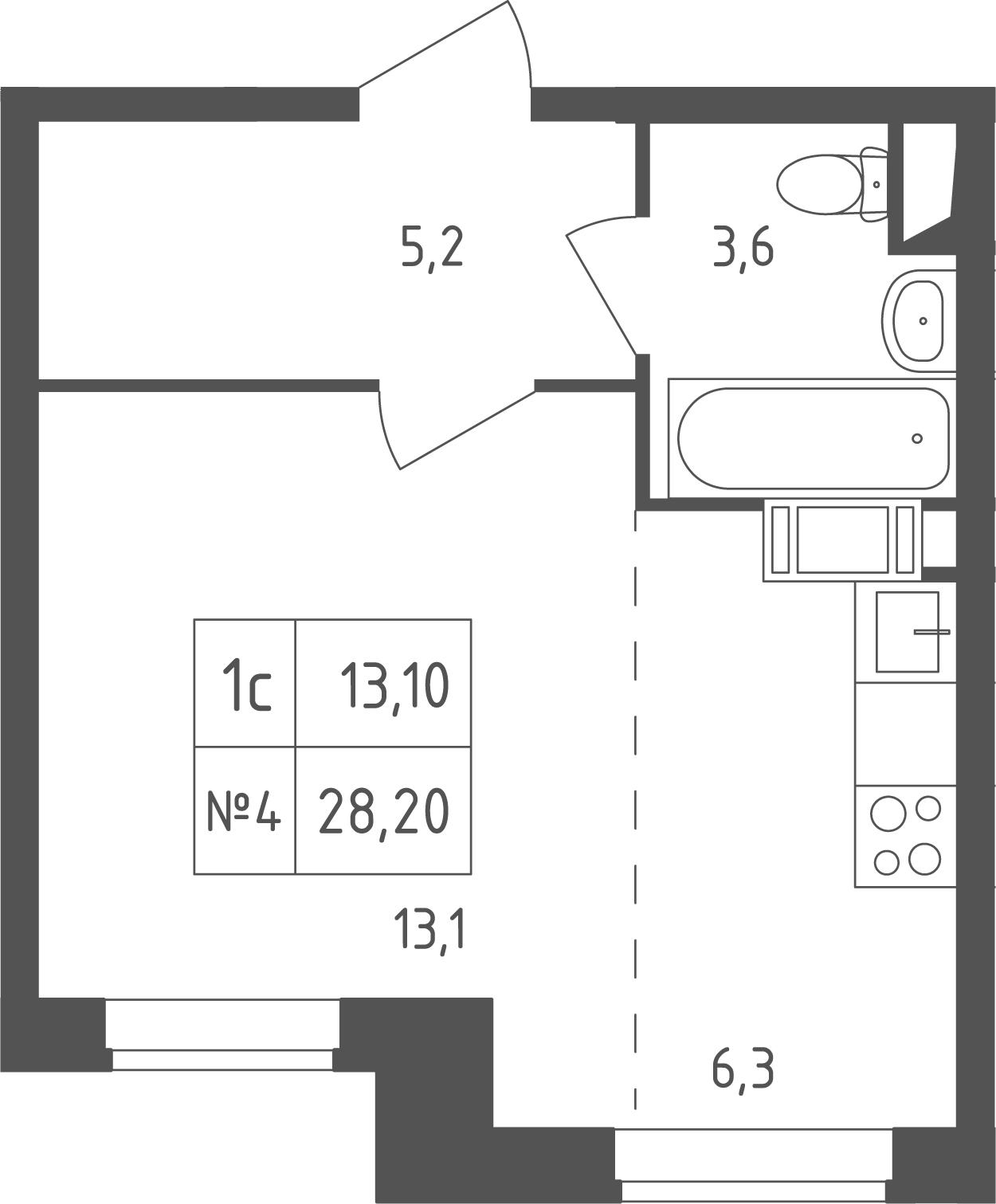 Студия, 28.2 м²– 2