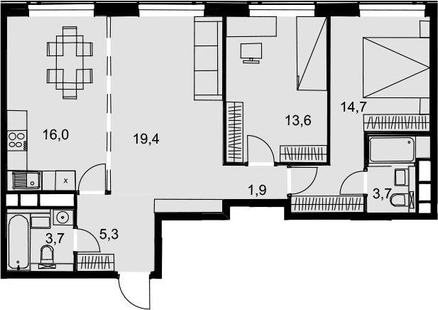 4Е-к.кв, 78.3 м², 33 этаж