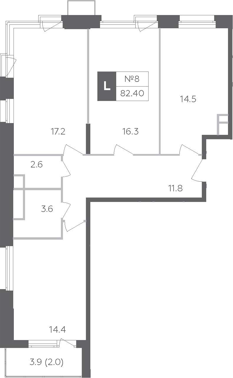 3-к.кв, 84.35 м²