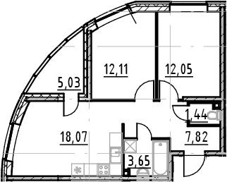 3Е-к.кв, 55.14 м²