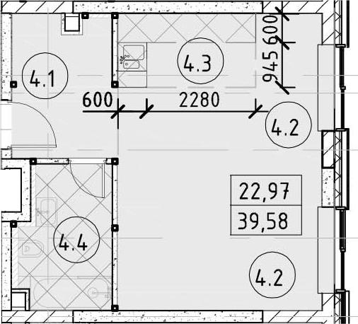 Студия, 39.58 м²