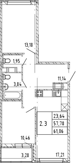 3Е-комнатная, 61.06 м²– 2