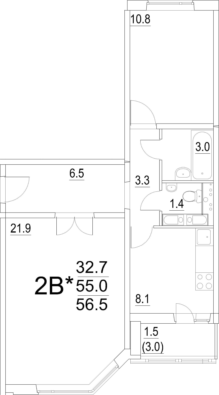 2-к.кв, 56.5 м²