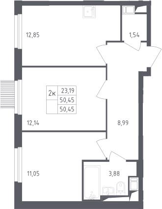 2-комнатная, 50.45 м²– 2