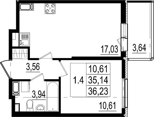 2Е-комнатная, 35.14 м²– 2