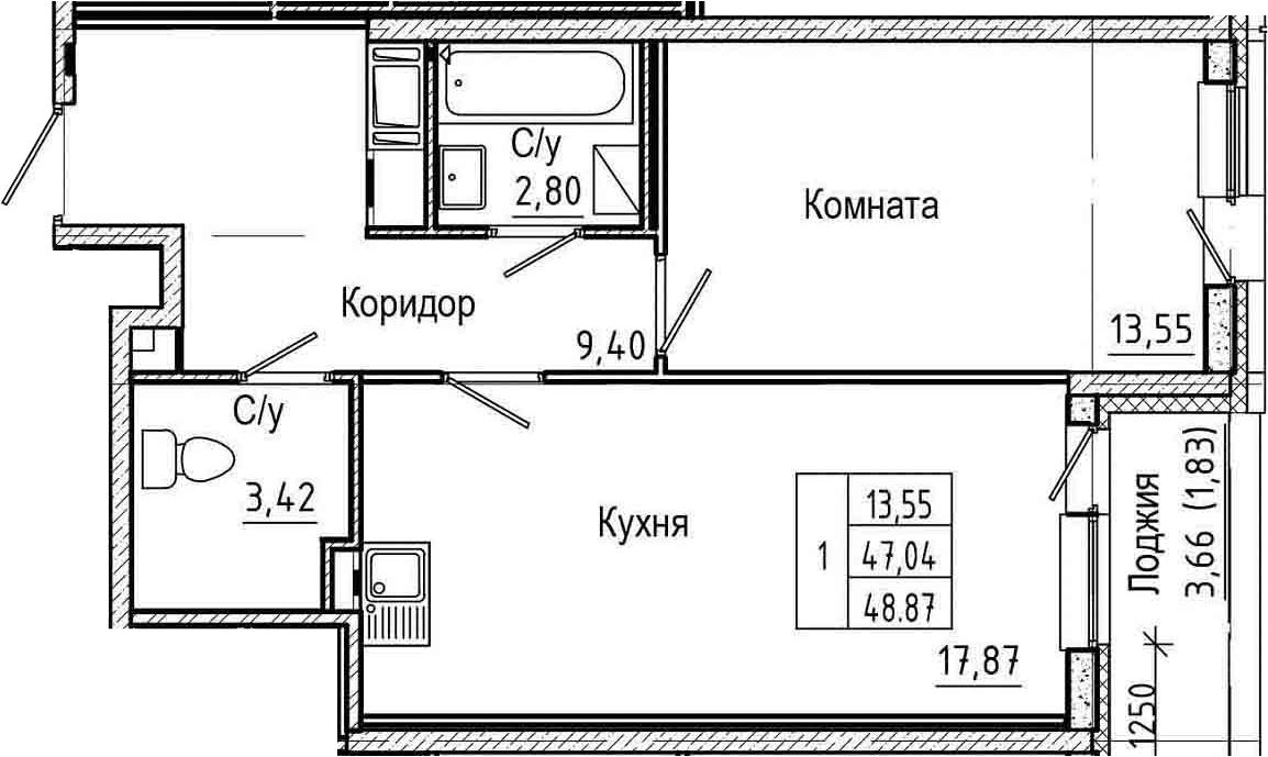 2Е-комнатная, 48.87 м²– 2