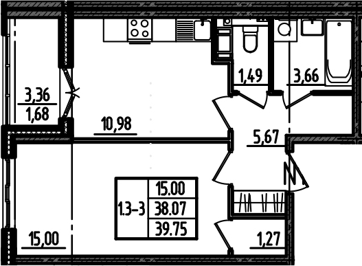 1-комнатная, 39.75 м²– 2