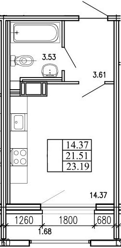 Студия, 23.19 м²– 2