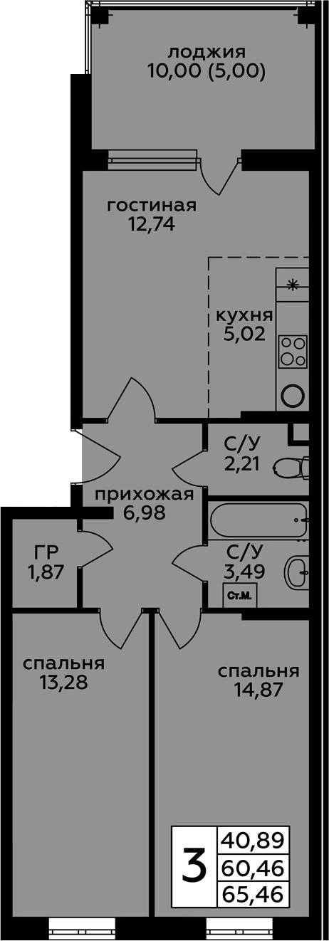 3Е-к.кв, 65.46 м², 1 этаж