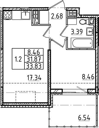 2Е-к.кв, 33.83 м²