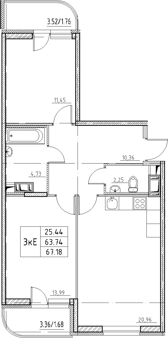 3-к.кв (евро), 70.62 м²