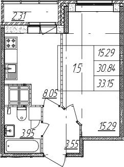 1-комнатная, 30.84 м²– 2