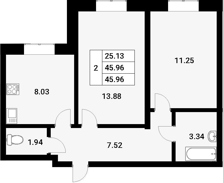 2-к.кв, 45.96 м²