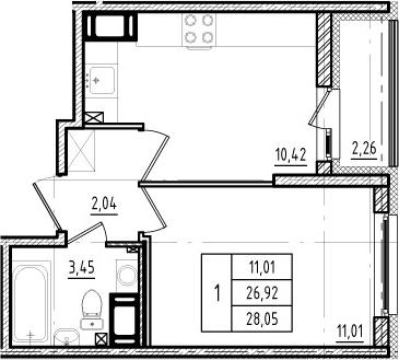 1-к.кв, 26.92 м², 2 этаж