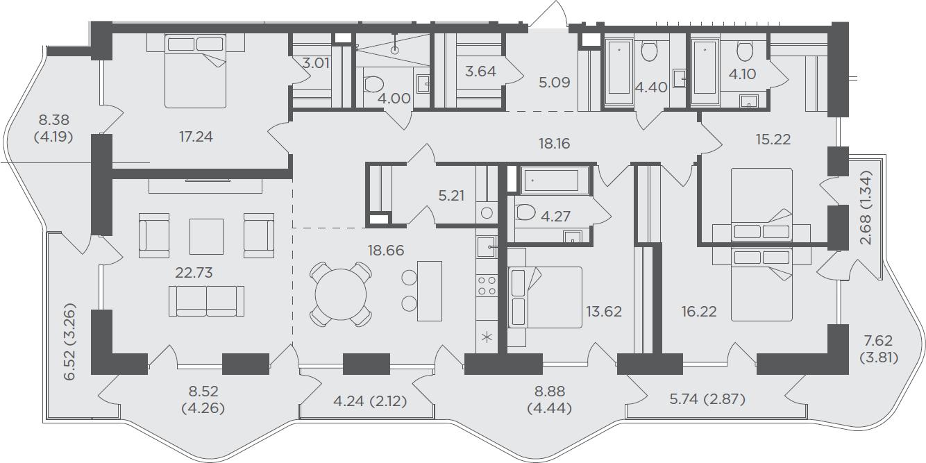 5-комнатная, 181.86 м²– 2