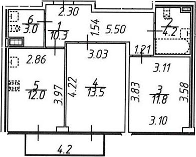 2-к.кв, 56.1 м², 10 этаж