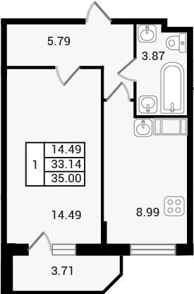 1-к.кв, 36.86 м²