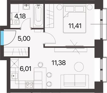 2Е-к.кв, 37.98 м², 13 этаж