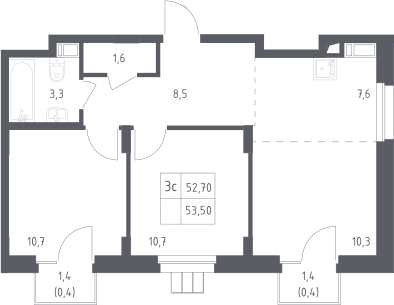 3Е-к.кв, 53.5 м²
