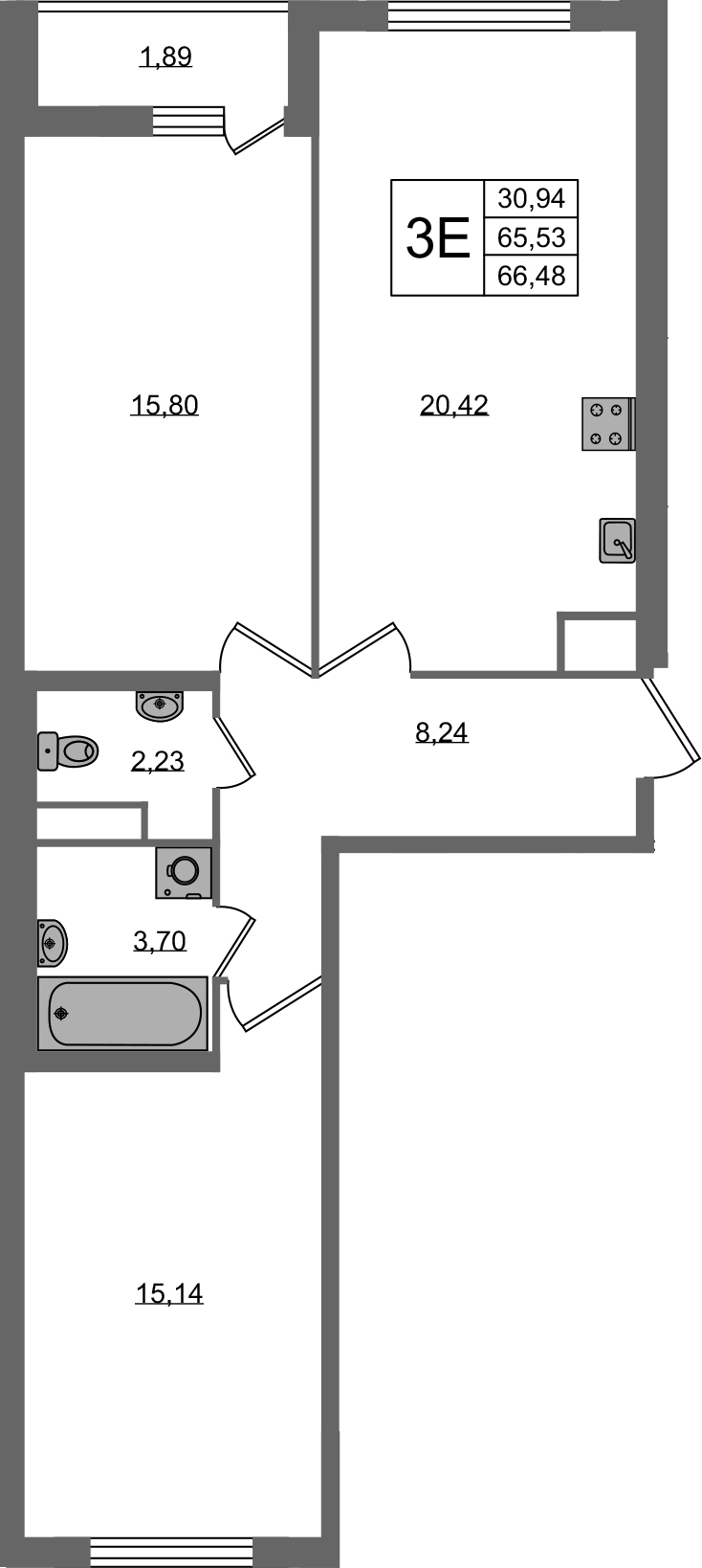 3Е-к.кв, 65.53 м²