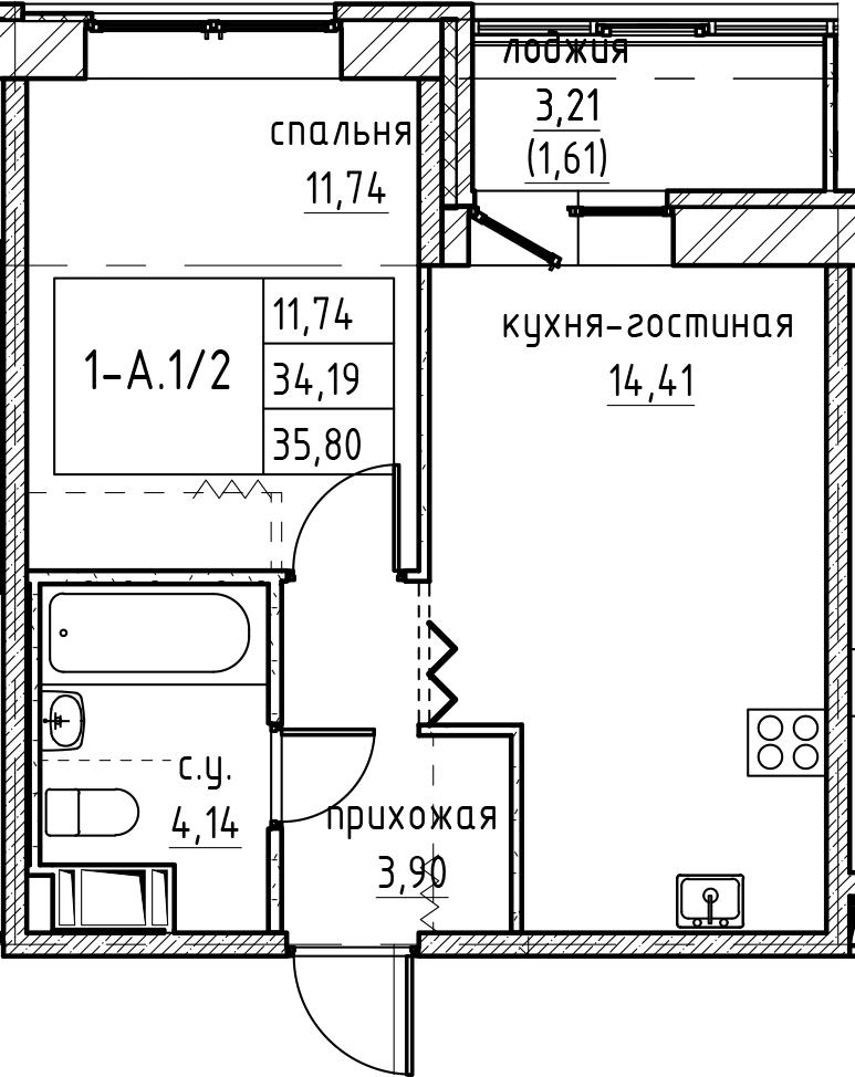 2Е-к.кв, 35.8 м², 2 этаж