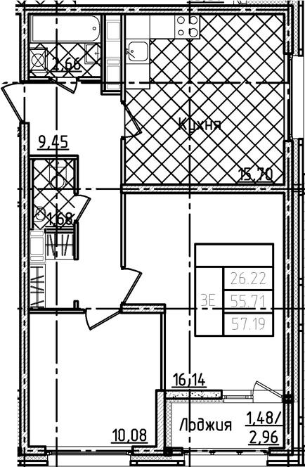 3Е-комнатная, 57.19 м²– 2