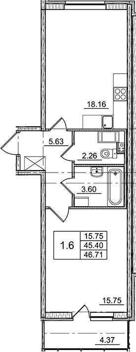 2Е-к.кв, 45.4 м², от 3 этажа