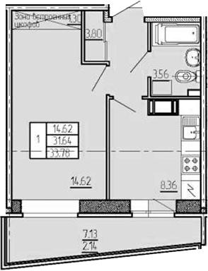 1-комнатная, 33.78 м²– 2