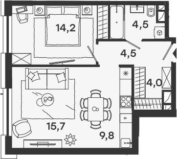 2Е-к.кв, 52.7 м²