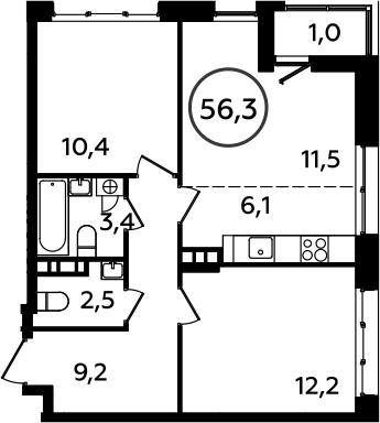 3Е-к.кв, 56.3 м², 5 этаж