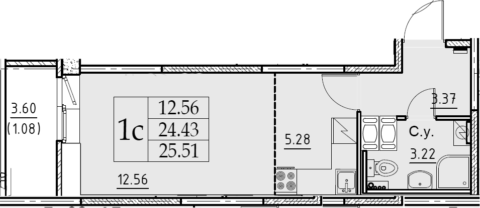 Студия, 25.51 м²– 2