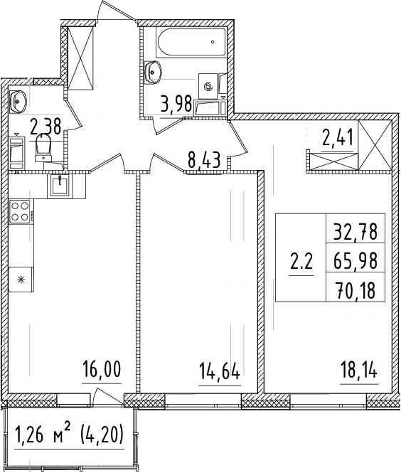 3Е-комнатная, 65.98 м²– 2