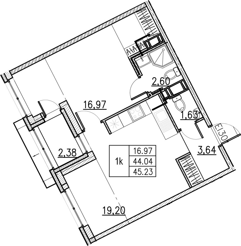 2Е-комнатная, 45.23 м²– 2