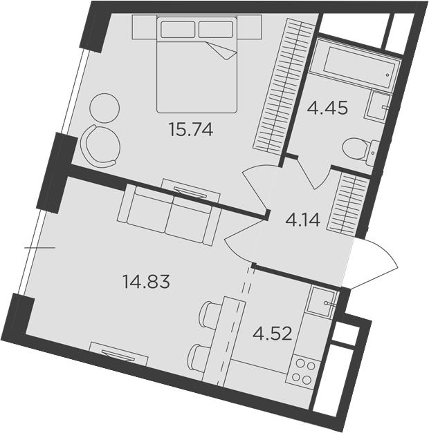 2Е-к.кв, 43.68 м²