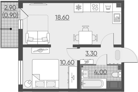 2Е-комнатная квартира, 37.4 м², 20 этаж – Планировка